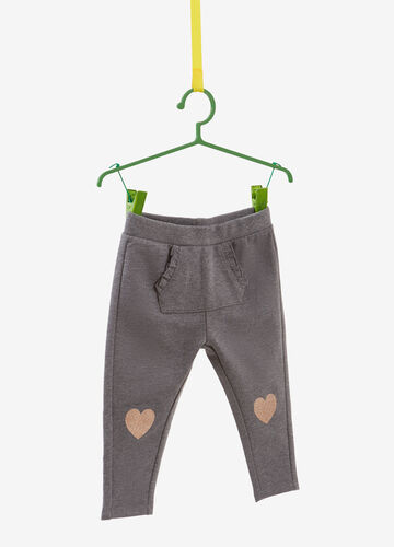 Mélange joggers with glitter hearts print