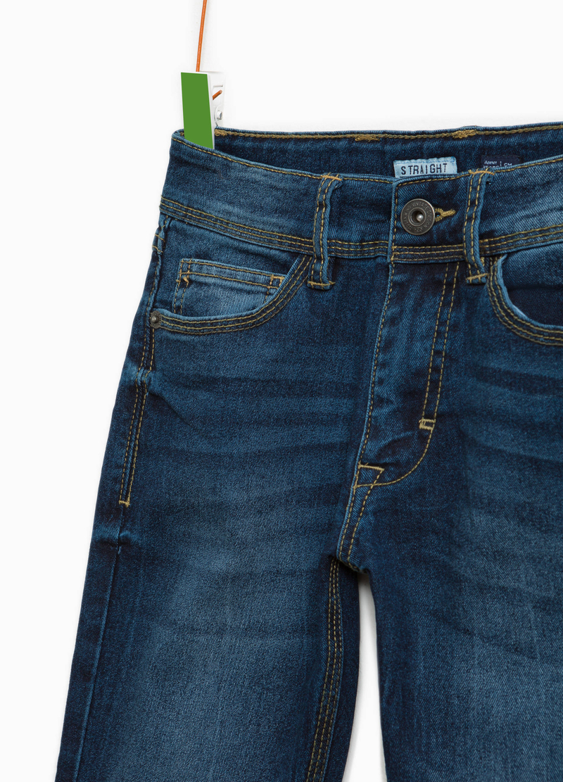 Worn-effect straight-fit jeans image number null