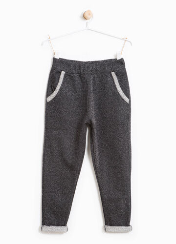 Pantaloni tuta in cotone stretch con lurex