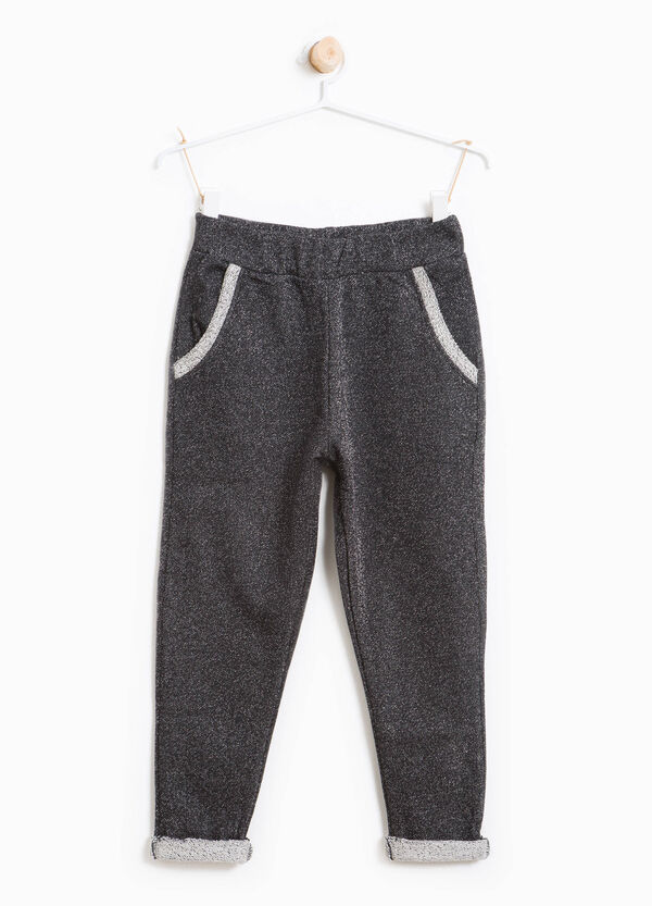 Stretch cotton joggers with lurex | OVS