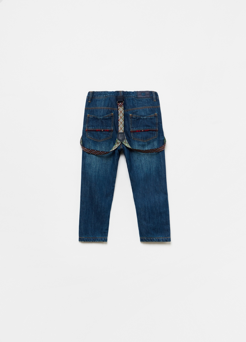 100% cotton jeans with braces image number null