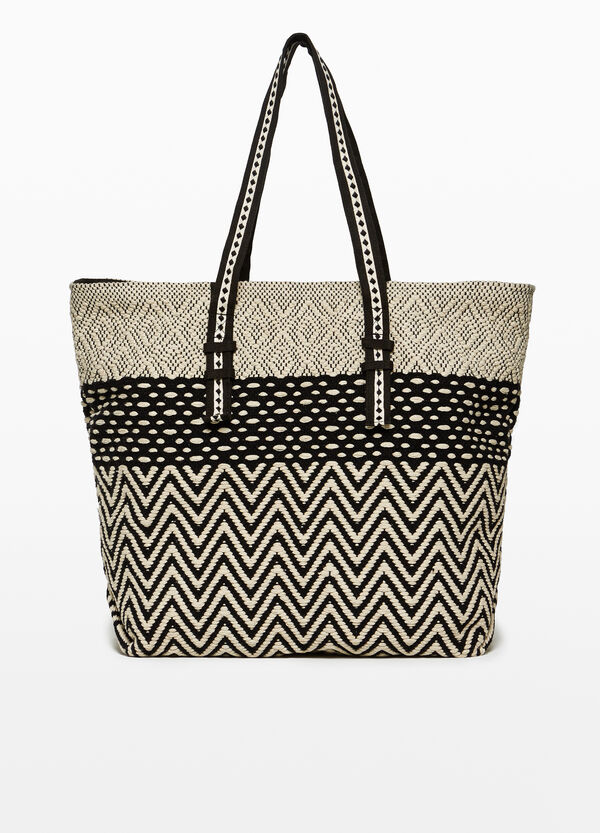 Patterned cotton beach bag