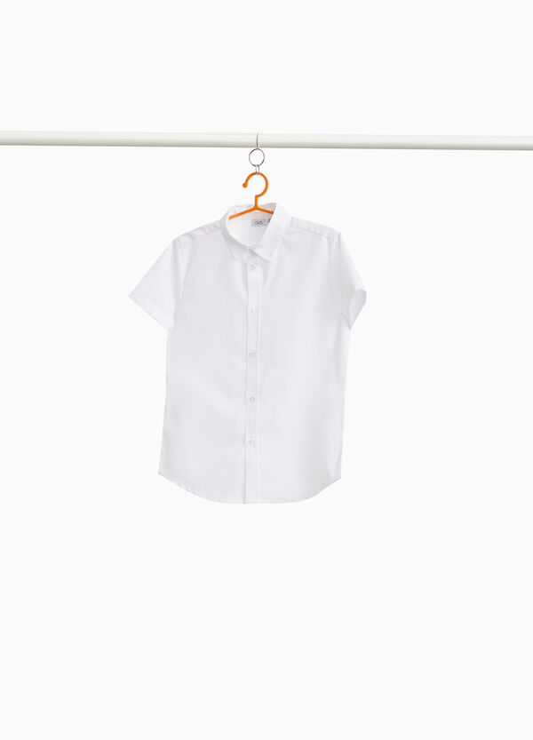 Cotton blend shirt with short sleeves