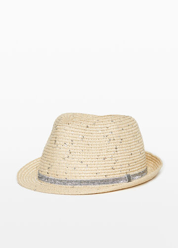 Wide-brimmed hat with glitter sequins