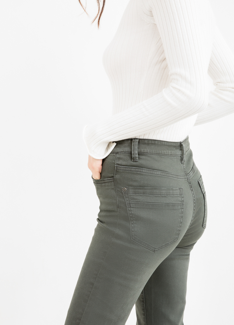 Flare-fit stretch cotton trousers image number null