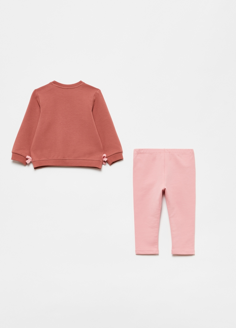 Sweatshirt and leggings jogging set with apple print image number null