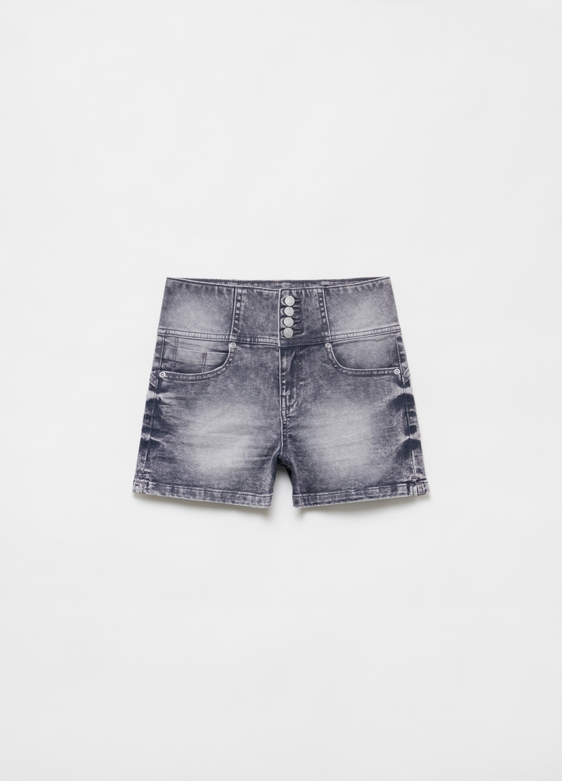 Shorts in denim vita alta con bottoni image number null