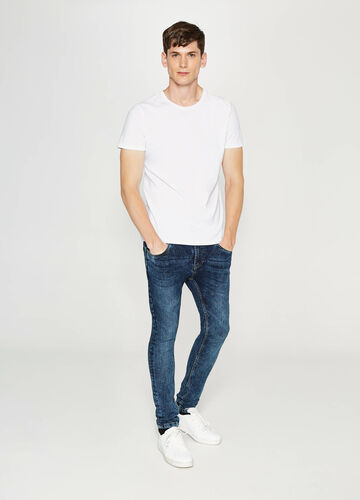 Super-skinny-fit worn-effect stretch jeans