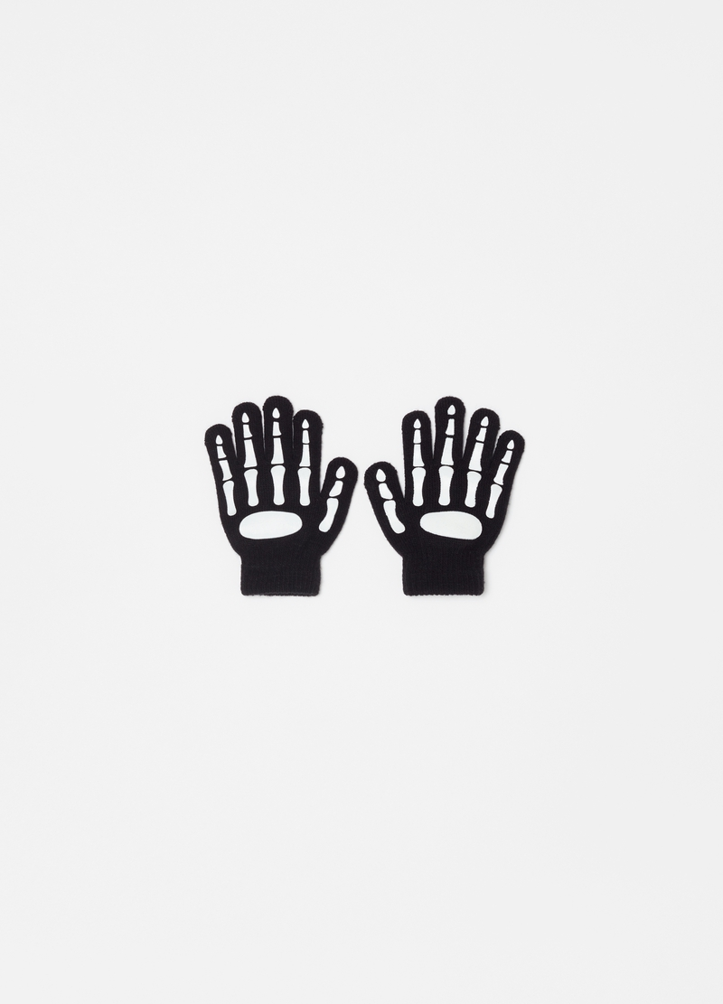 Stretch gloves with skeleton hand motif image number null
