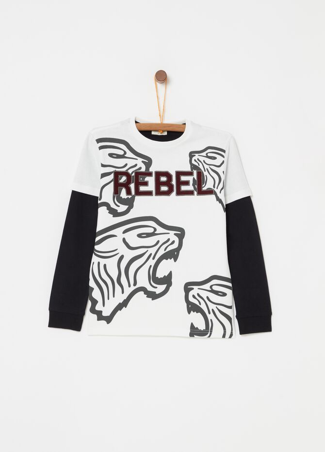 100% cotton T-shirt with tiger print and embroidery