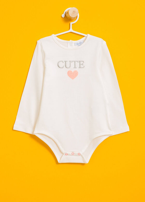Bodysuit in stretch cotton with embroidered lettering