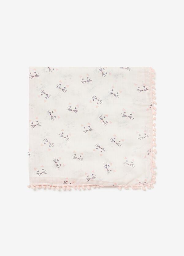 Kitten patterned pashmina with tassels