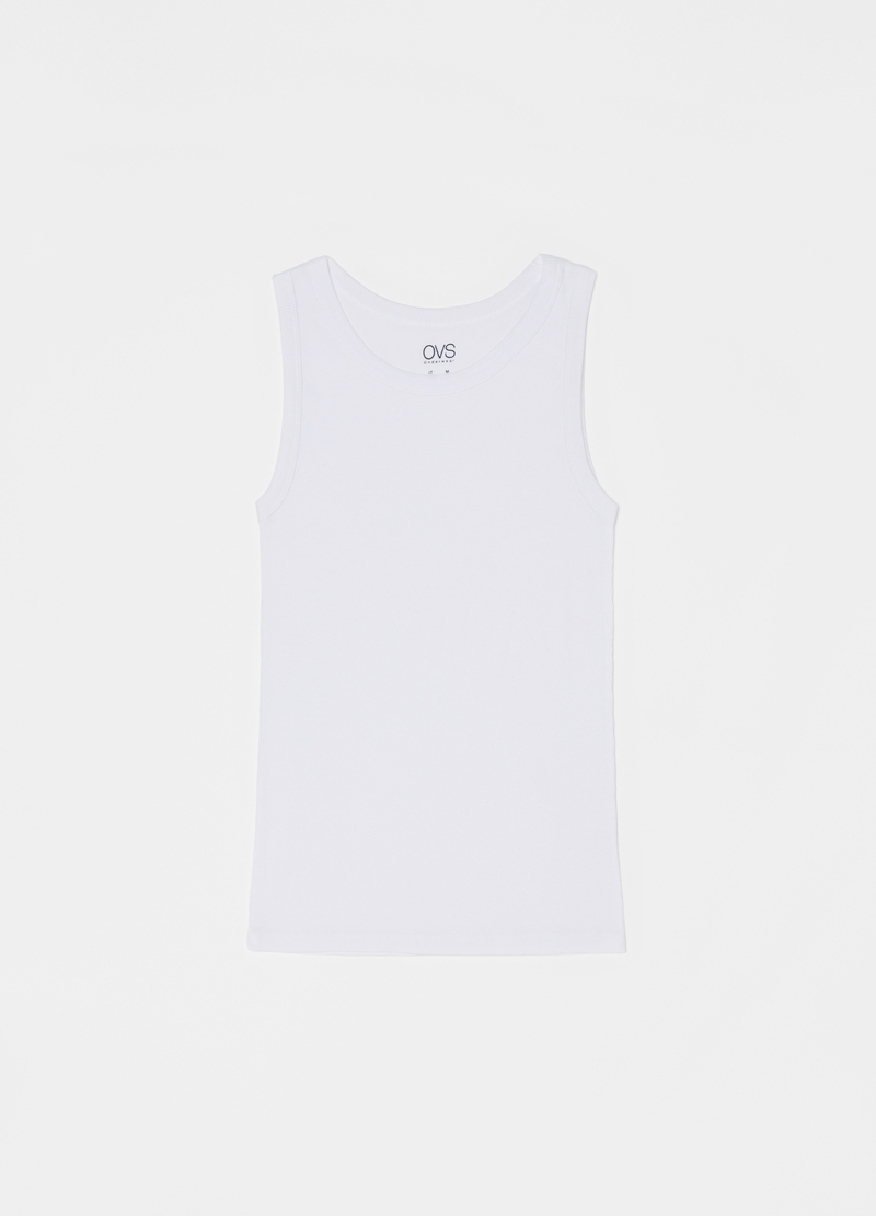 100% cotton racerback vest with wide straps image number null