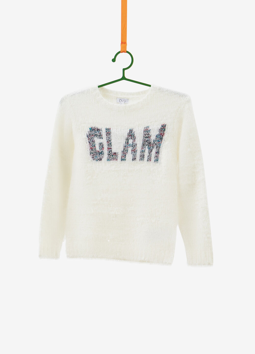 Cotton blend knitted pullover with lurex
