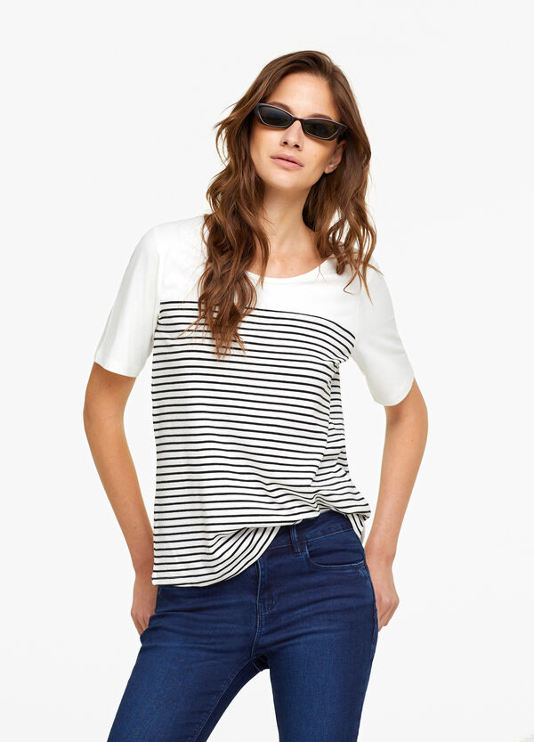 Stretch modal T-shirt with stripes