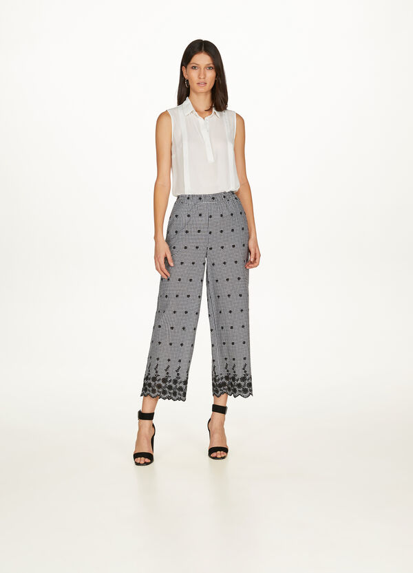 Gaucho model check trousers