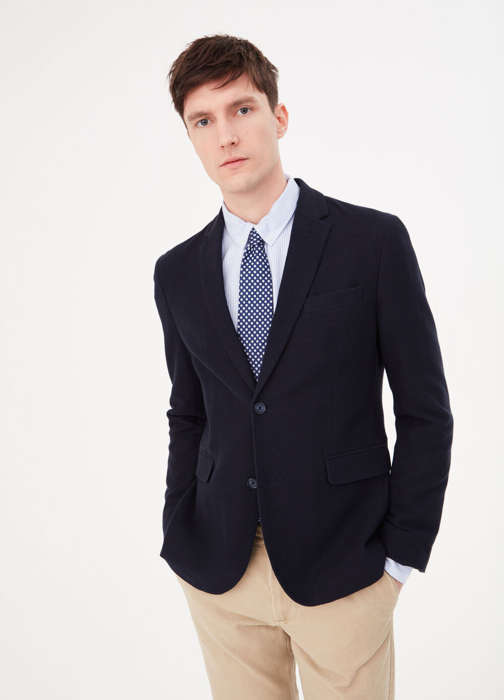 100% cotton blazer with two buttons
