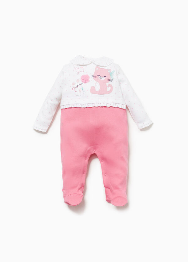 Polka dot onesie in 100% cotton with patch