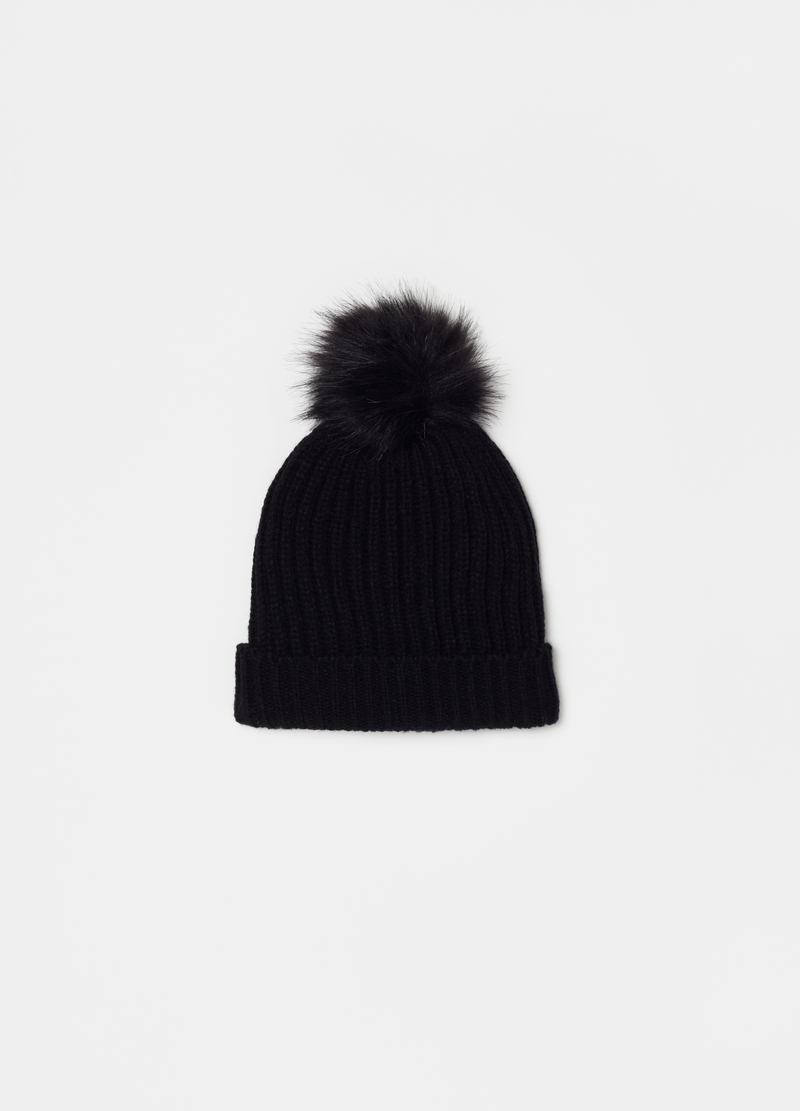 Ribbed hat with pompom image number null