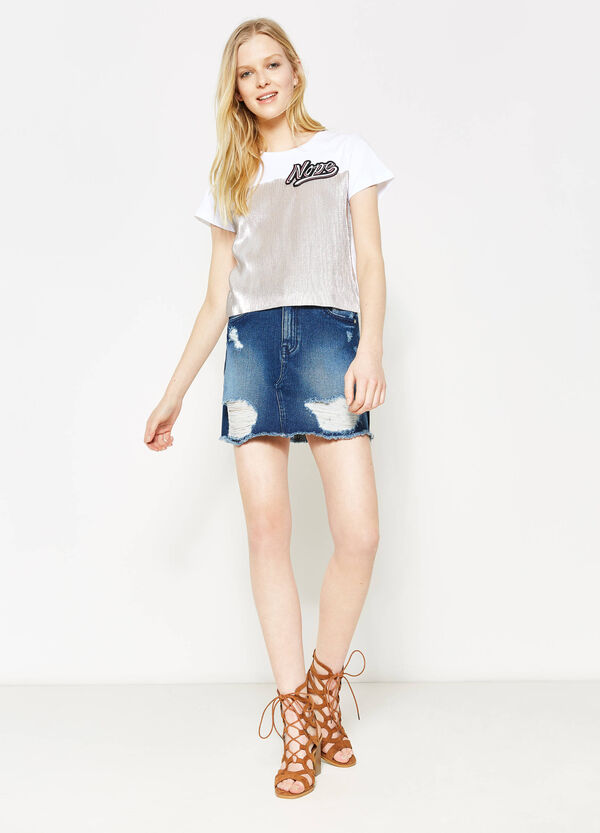 Worn-effect stretch denim skirt | OVS