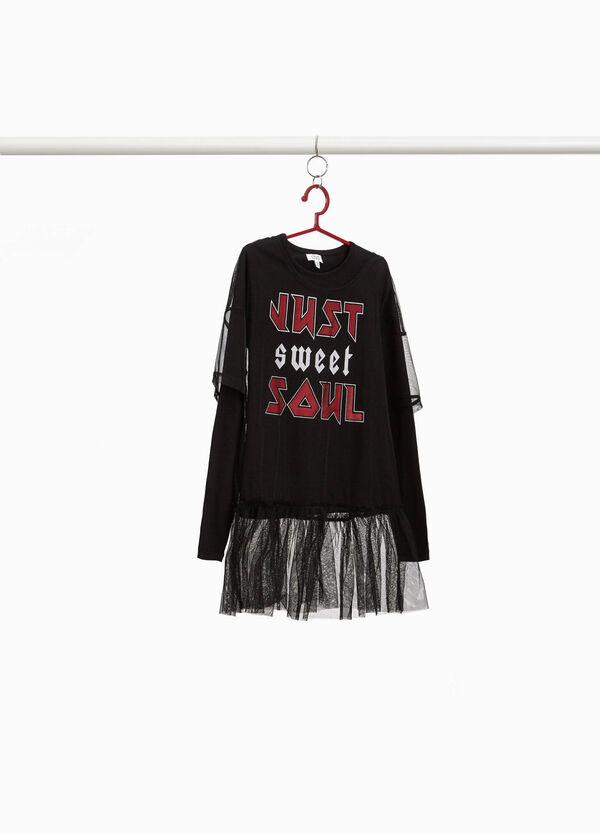 T-shirt with lettering and tulle faux layered effect