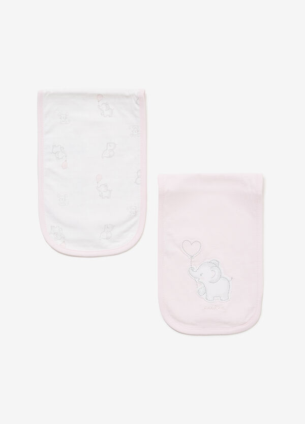 Two-pack patterned and solid colour cotton bibs