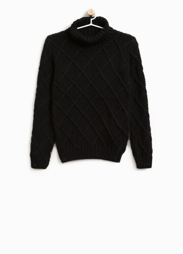 Solid colour knitted  turtleneck jumper with high neck
