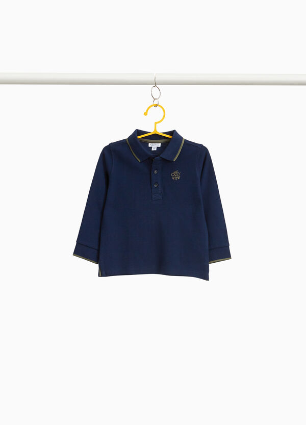 Piquet polo shirt with lettering embroidery