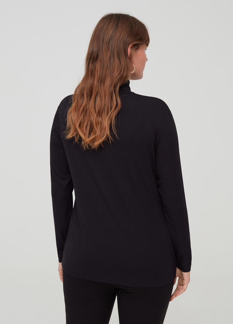 Curvy T-shirt with long sleeves and high neck image number null