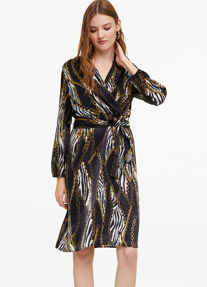 Crossover dress with belt and pattern