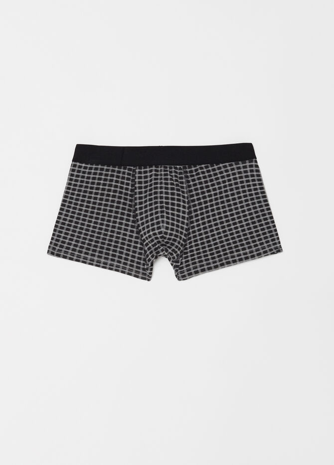 Three-pack solid colour and check stretch boxer shorts