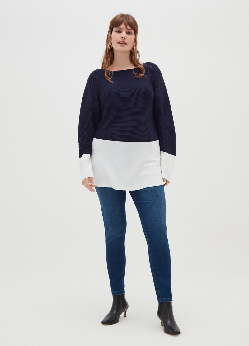 Curvy striped weave pullover image number null