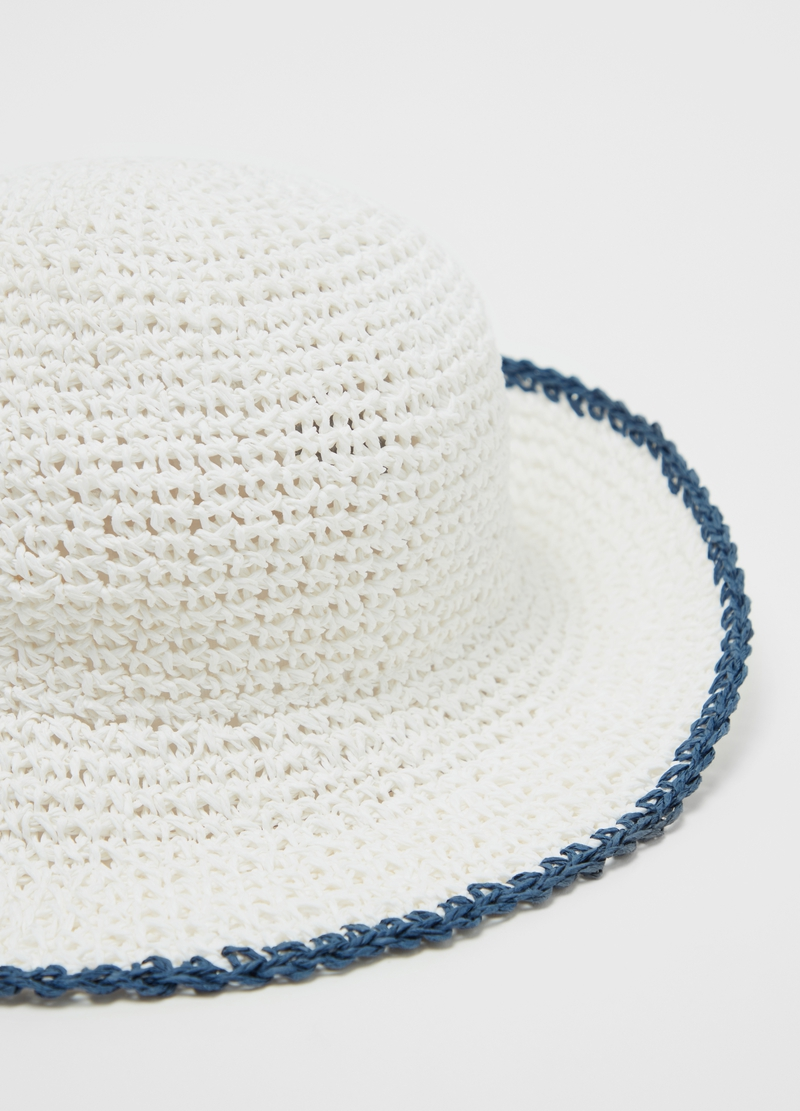 Straw cloche hat with contrasting edging image number null