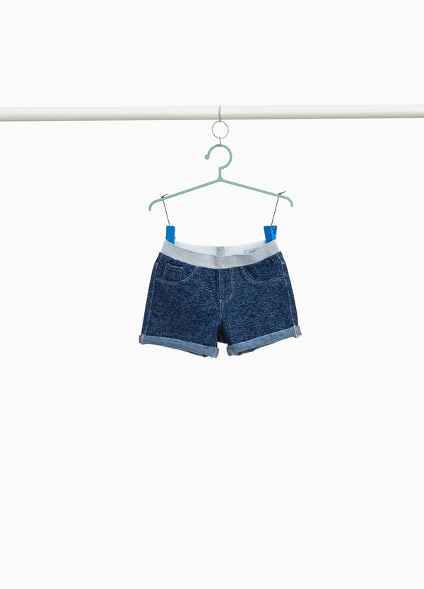 Stretch denim shorts with lurex