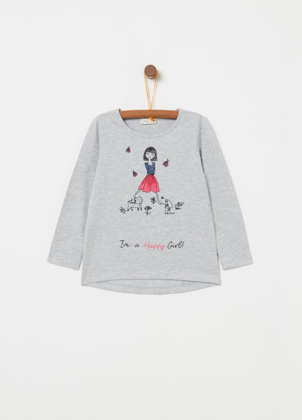 Printed T-shirt with glitter baby girl and puppies