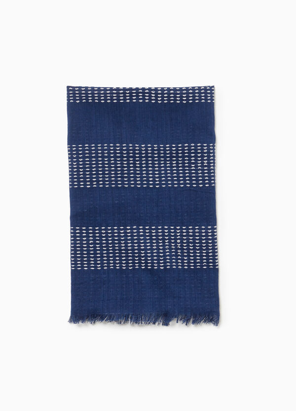 Cotton and viscose jacquard scarf