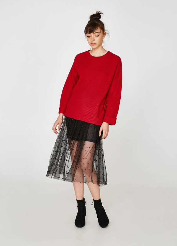 Gonna in tulle stretch con perline