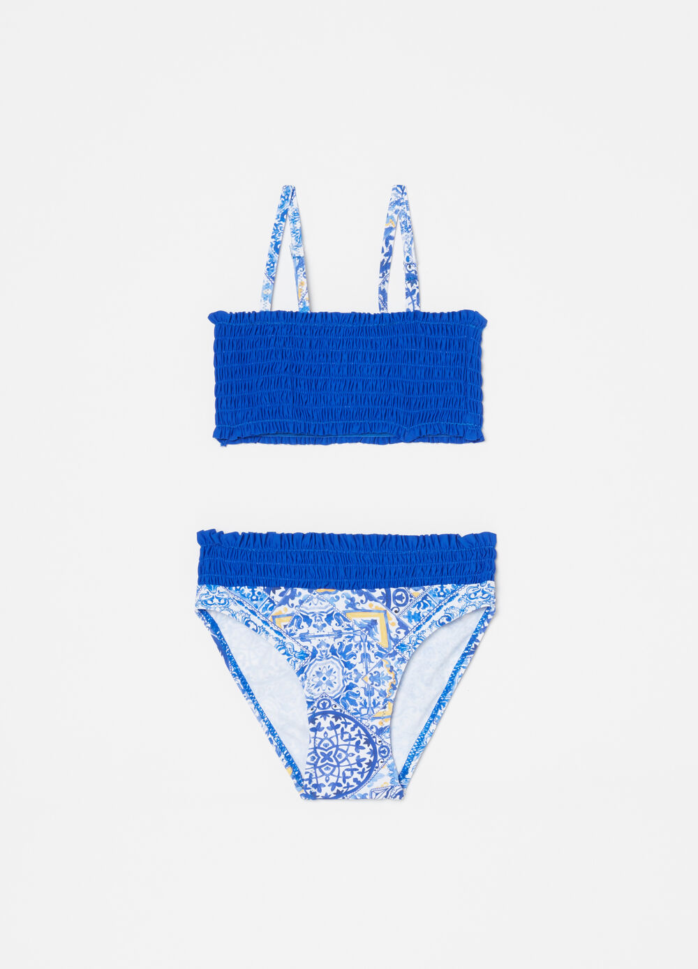 Bikini with top and bottom with pattern and smock stitch