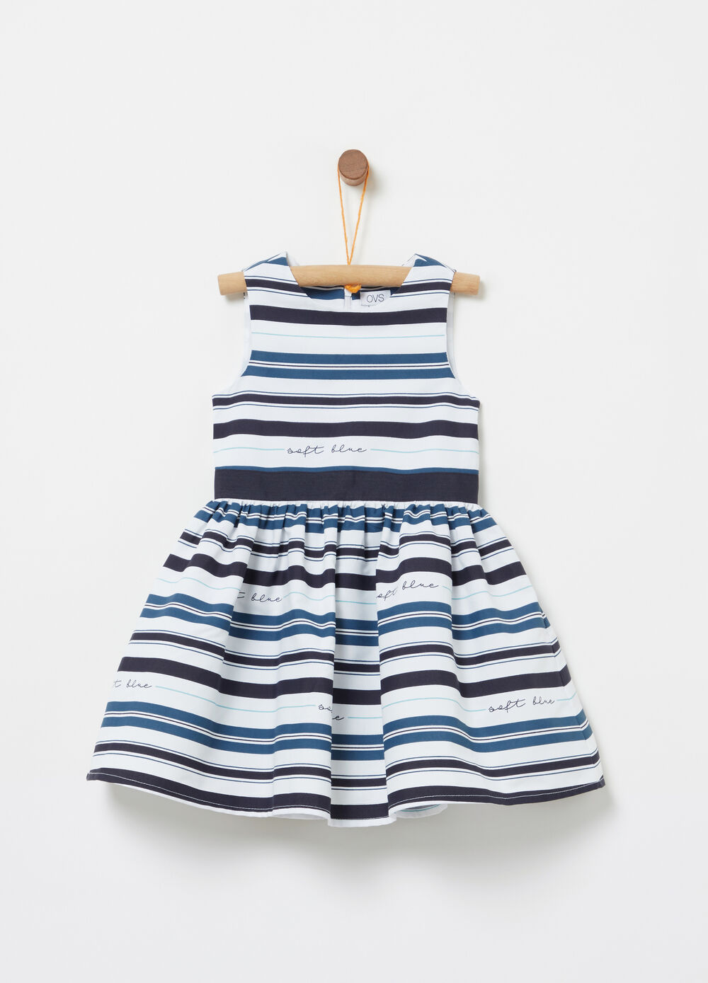 Dress with zip fastening and all-over striped print