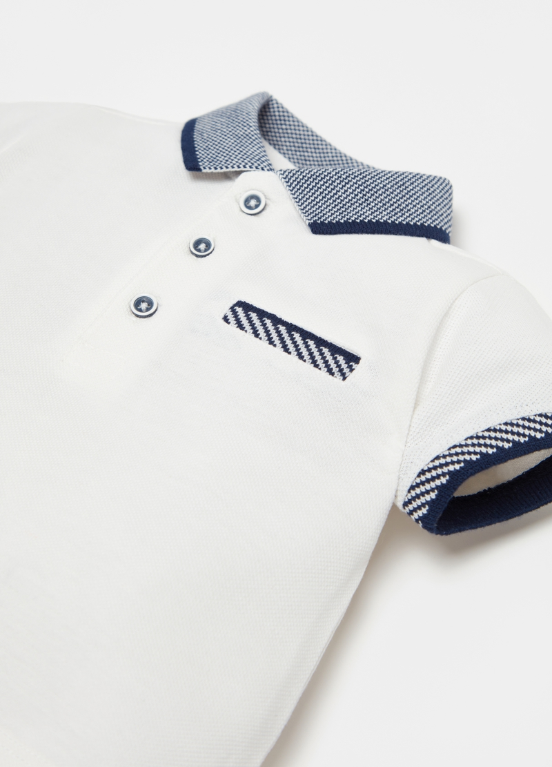 Cotton piquet polo shirt with knitted details image number null