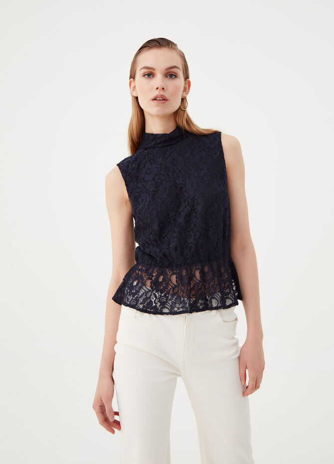Sleeveless shirt with high lace neck