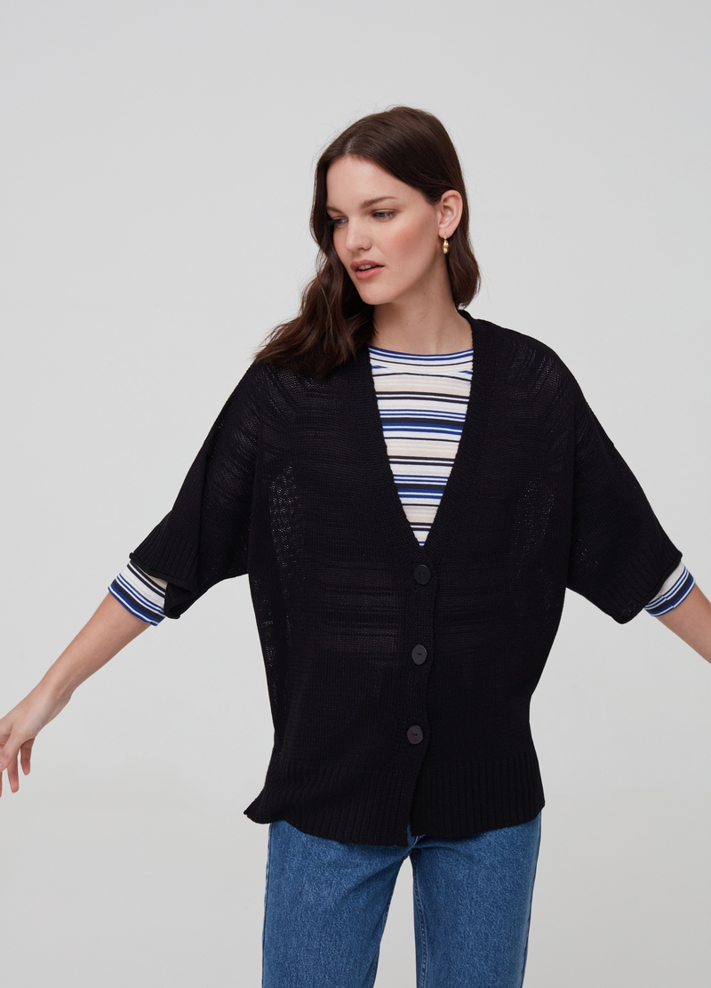 Knitted cardigan with V neck image number null