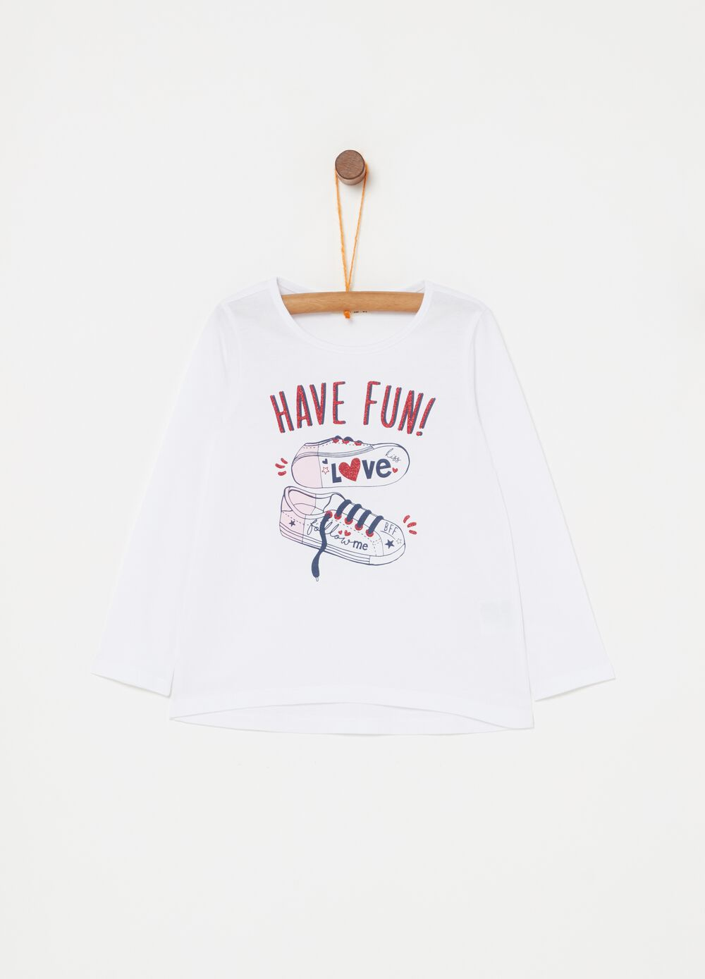 T-shirt in puro cotone stampa sneakers