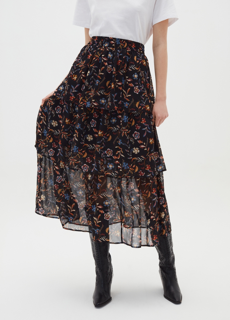 Flounced skirt with floral print image number null