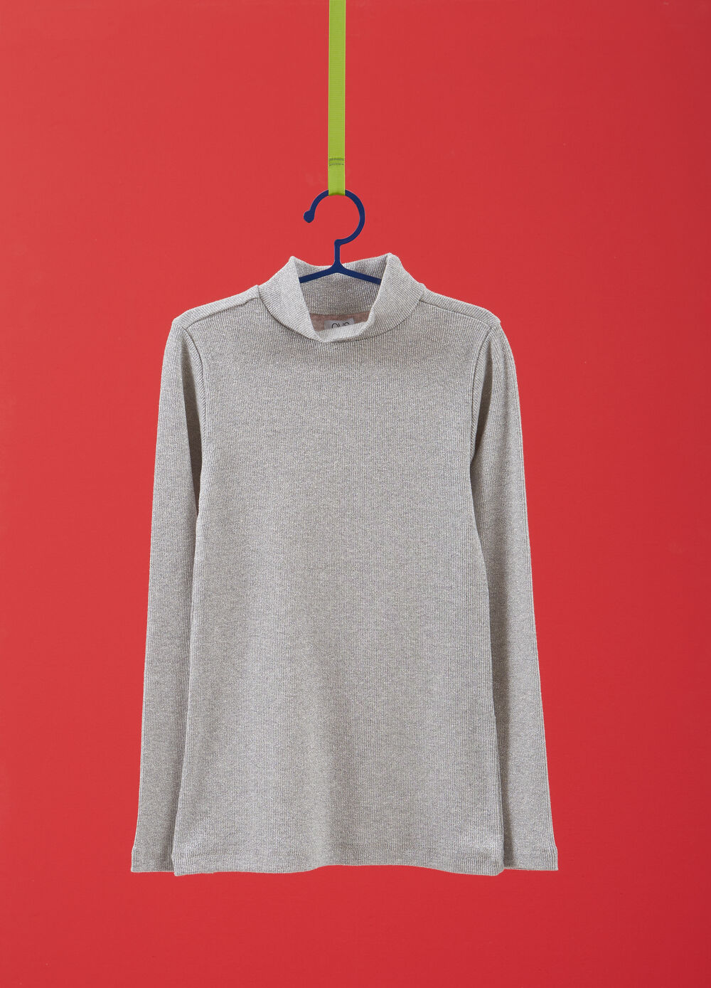 Cotton blend turtleneck with lurex