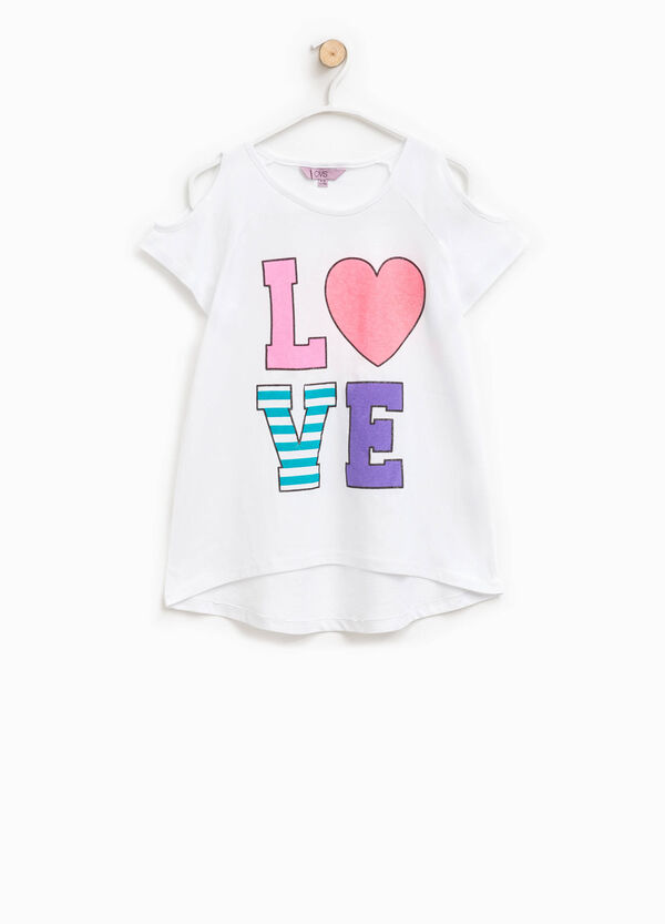 T-shirt with openings on the sleeves and print | OVS