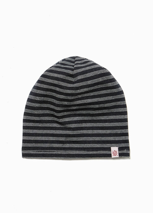 Jersey beanie cap with stripes