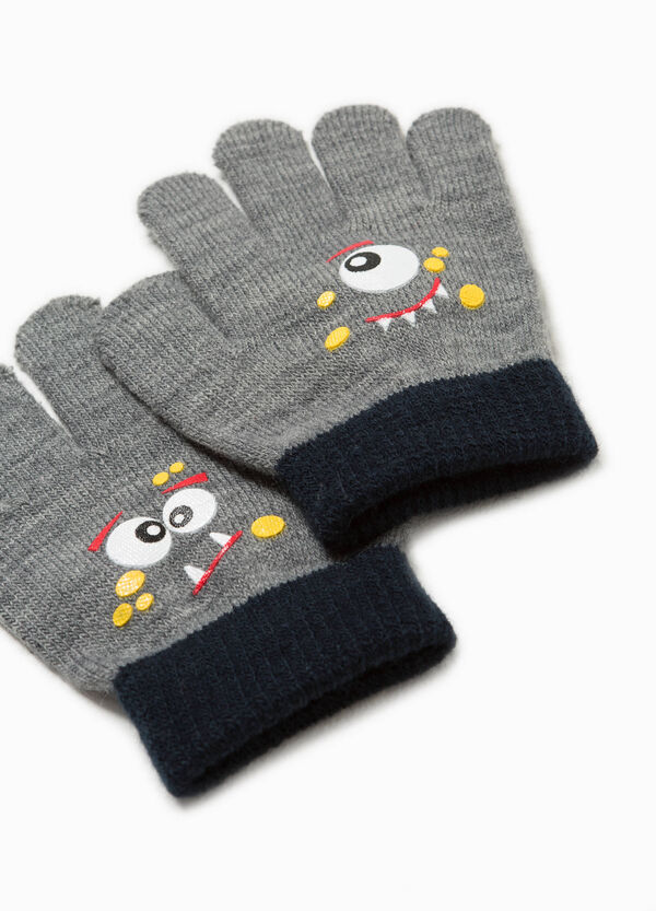 Stretch gloves with monster print | OVS