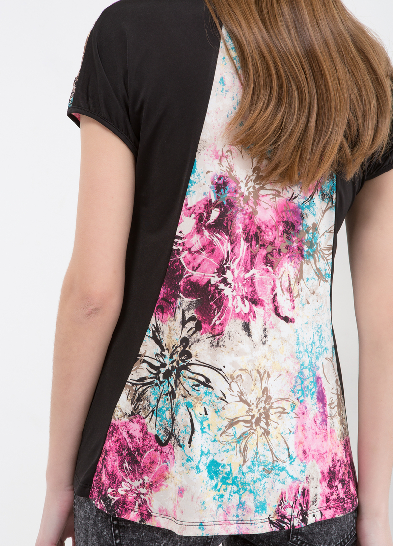 Stretch floral T-shirt image number null