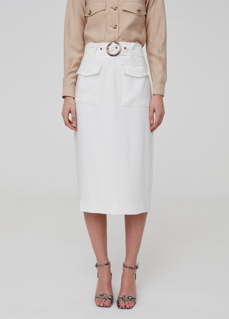 High-waisted skirt with pockets image number null
